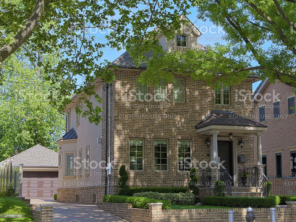 Luxury Brooklyn House, New York. Blue sky. royalty-free stock photo