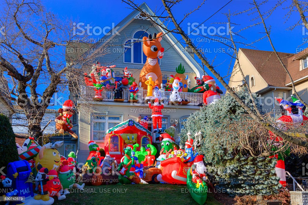Luxury Brooklyn House with Christmas Decorations, New York. Blue sky. stock photo