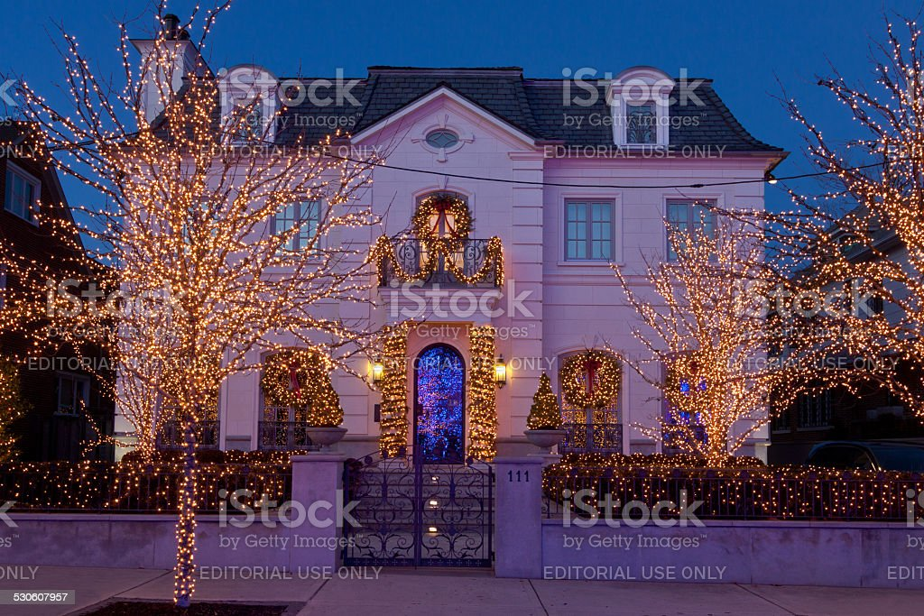 Luxury Brooklyn House with Christmas Lights at sunset, New York. stock photo