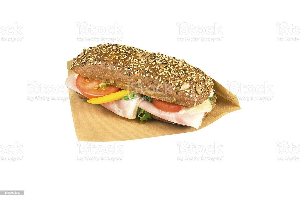 なブラウンチャバタのサンドイッチです。 ロイヤリティフリーストックフォト