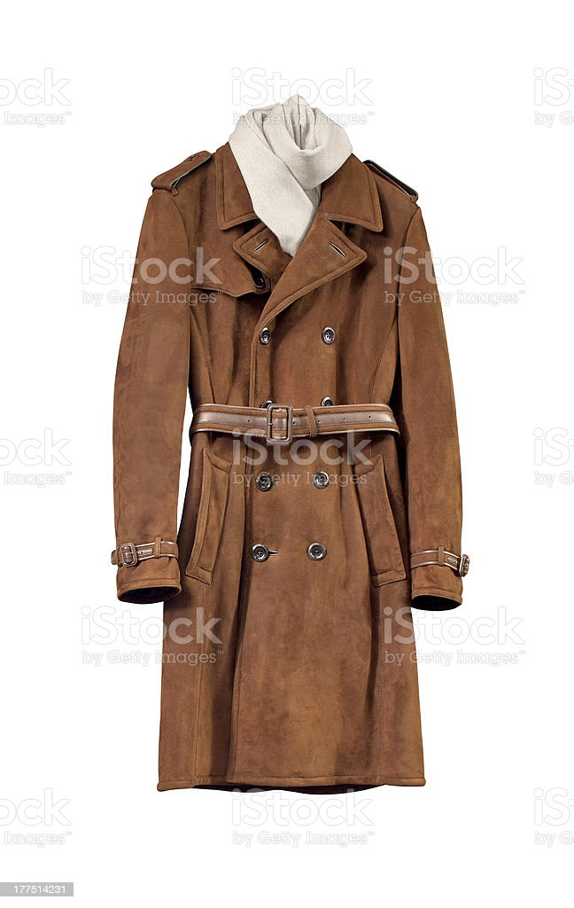 Luxury brown male leather jacket isolated on white stock photo