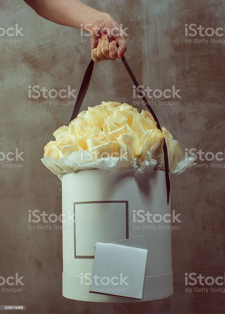 luxury bunch of white roses stock photo