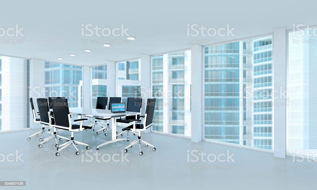 Luxury business office interior with windows on skyscrapers stock photo