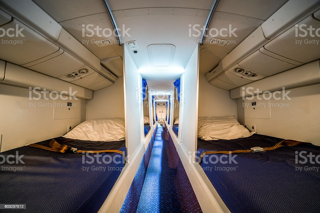 Luxury cabin for airplane crew stock photo