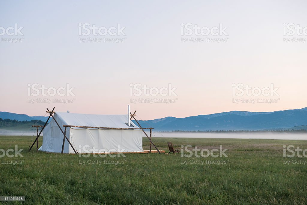 Luxury Camping Tent at Sunrise in Montana stock photo