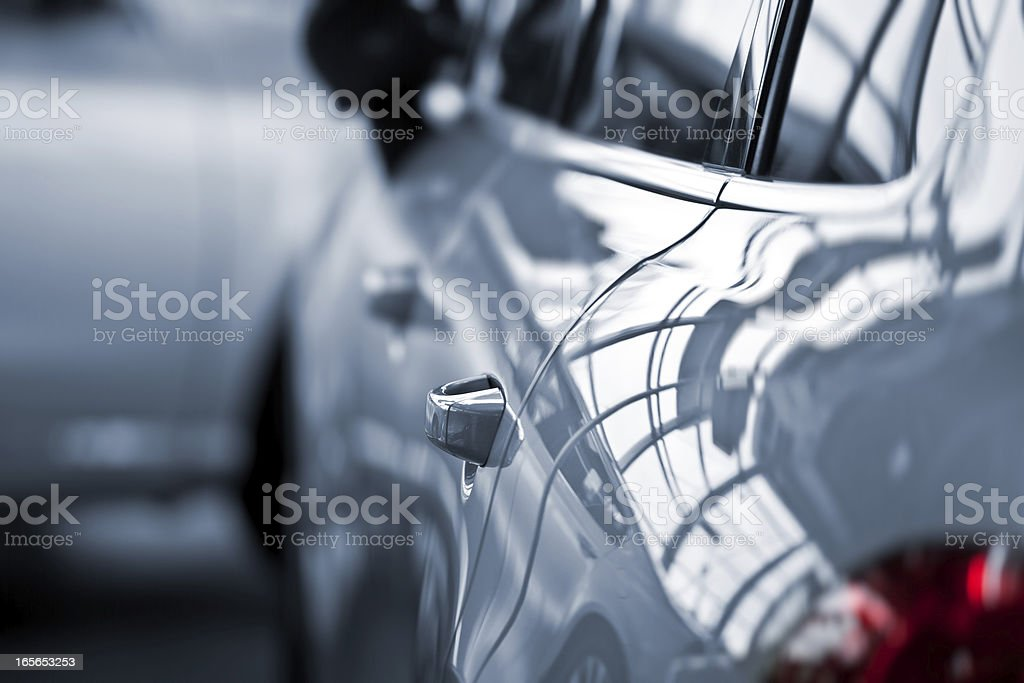 Luxury car at public dealership stock photo