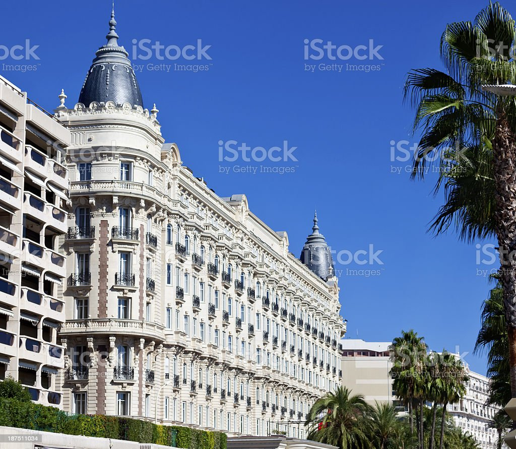 Luxury Carlton Hotel in Cannes stock photo