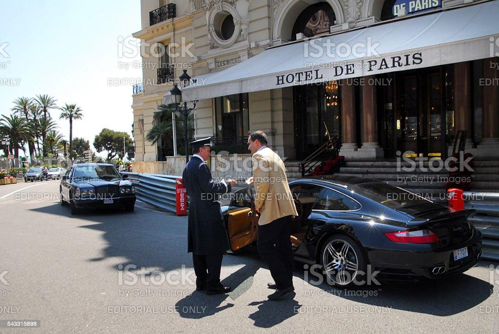 Luxury cars outside Hotel de Paris Monaco stock photo