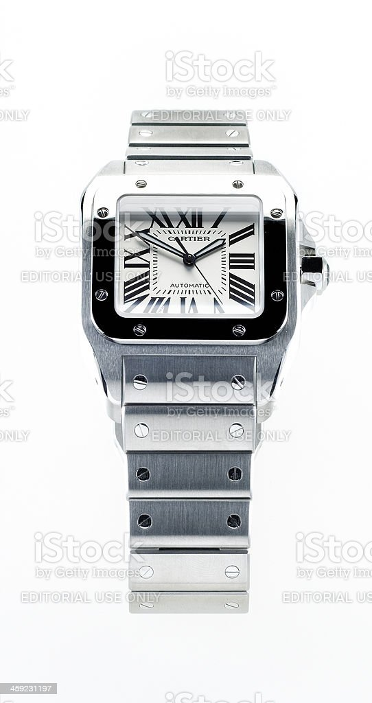 luxury Cartier Santos Steel Automatic wristwatch stock photo