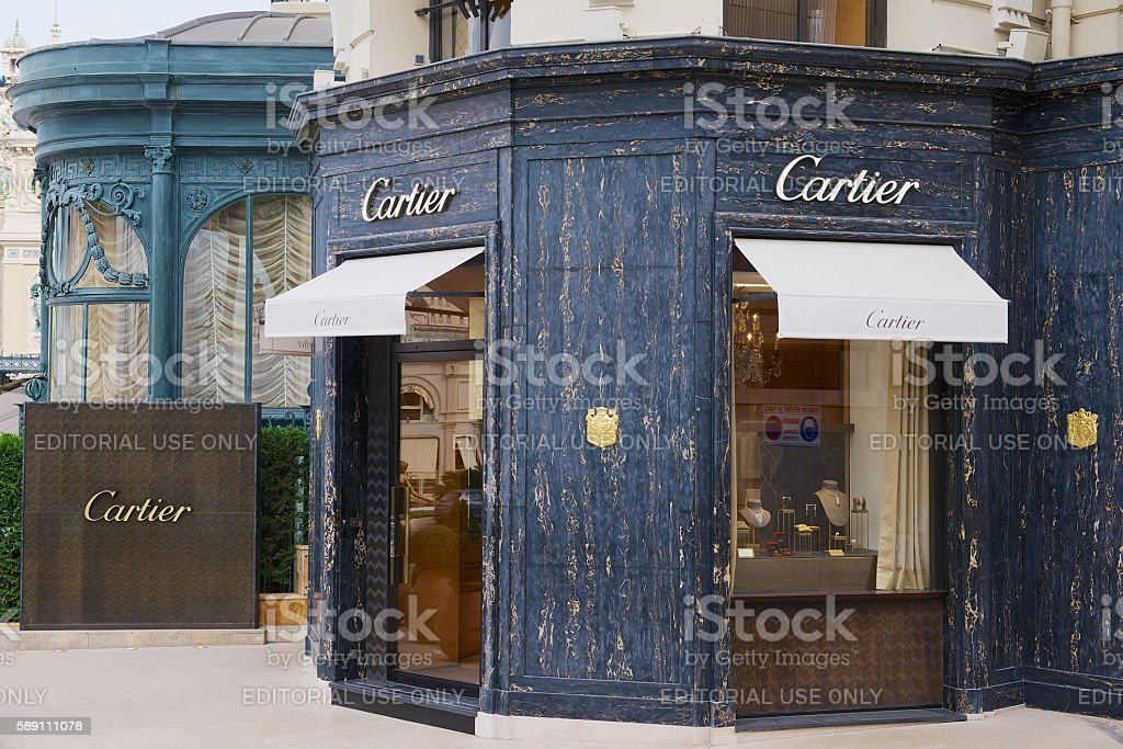 Luxury Cartier store near famous Monte Carlo Casino, Monaco. stock photo