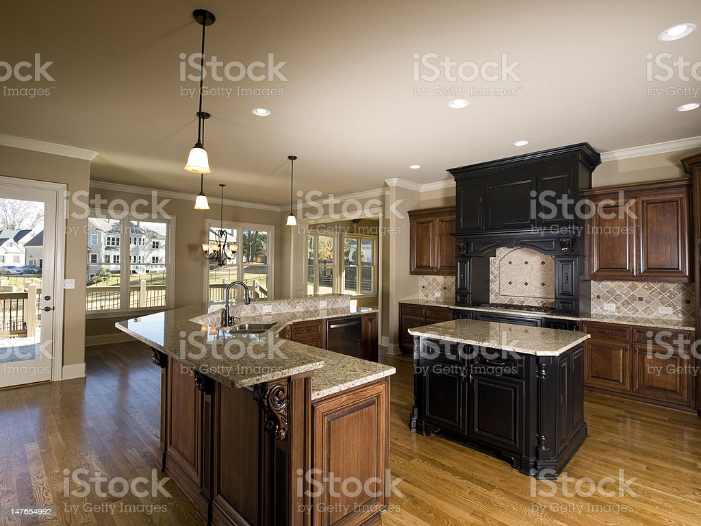 Luxury center island Kitchen with view royalty-free stock photo