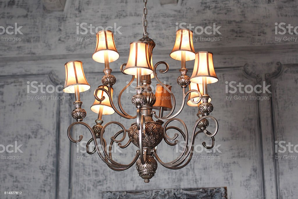 luxury chandelier in baroque interior stock photo