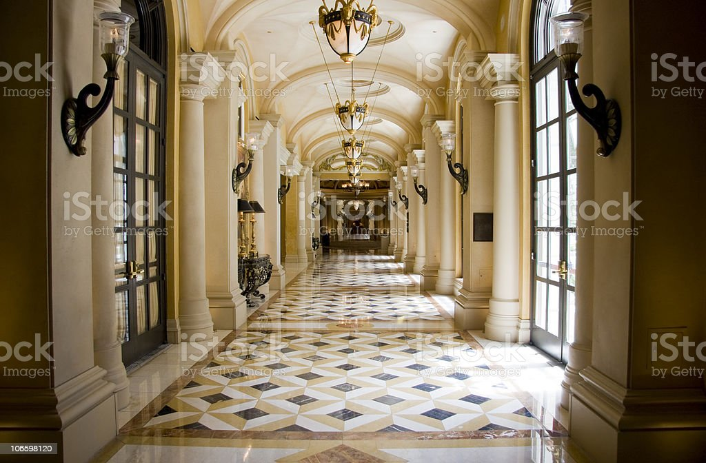 Luxury classic colonnade corridor stock photo