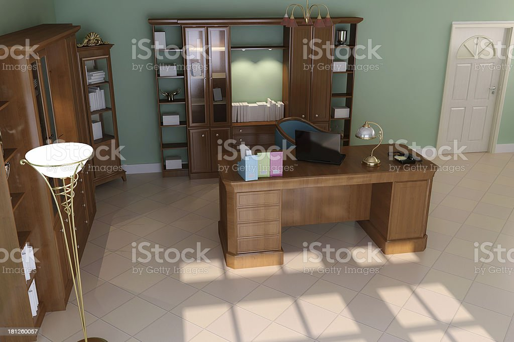 luxury classic study room royalty-free stock photo