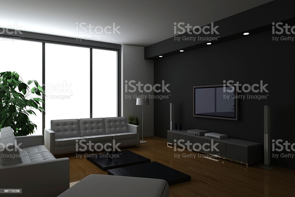 Luxury condo interiors (on white background!) royalty-free stock photo