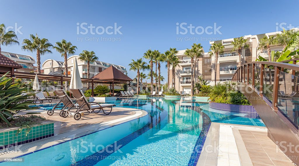 luxury Construction hotel  Swimming Pool stock photo