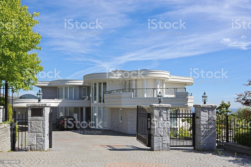 Luxury contemporary home in expensive subdivision stock photo