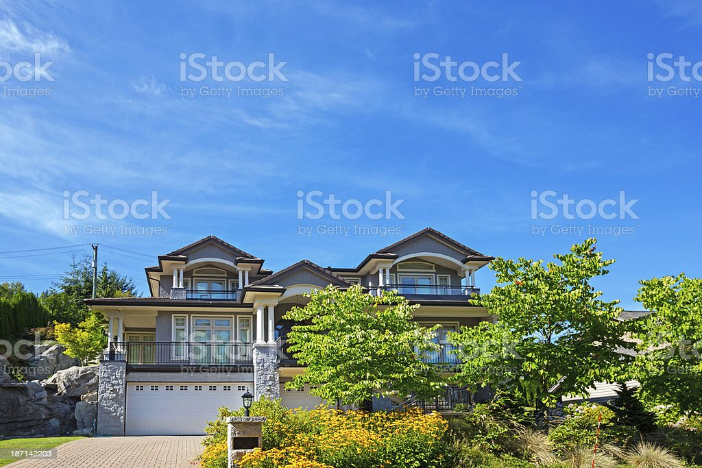 Luxury contemporary home in expensive subdivision royalty-free stock photo