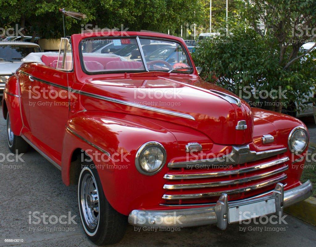Luxury cuban red cars stock photo