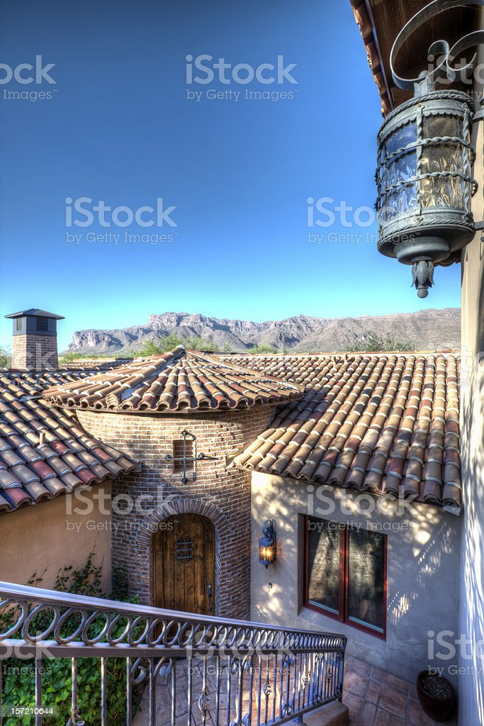 Luxury Desert Home Courtyard Entrance stock photo