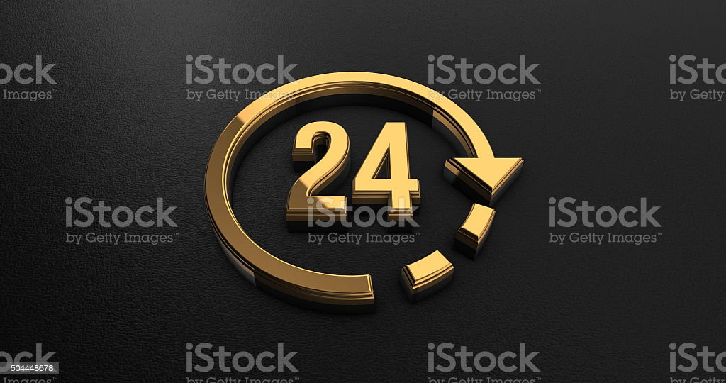 Luxury Design 3d Gold 24 Hours Icon on Black Leather stock photo