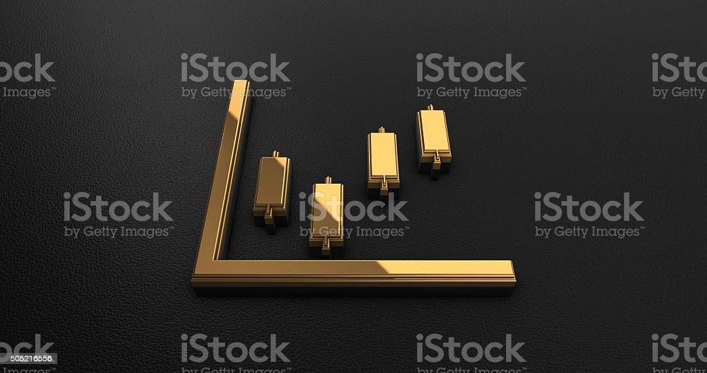 Luxury Design 3d Gold Stock Chart Icon stock photo