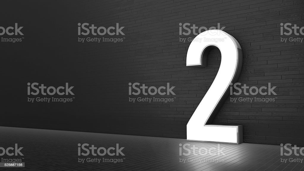Luxury Design 3d number 2 with floor and wall stock photo