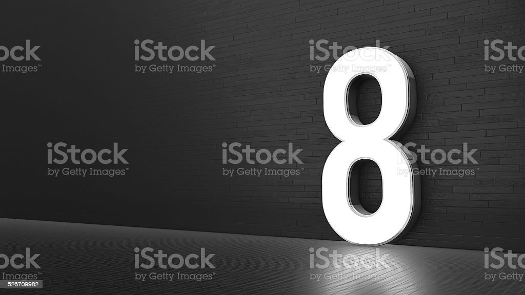 Luxury Design 3d number 8 with floor and wall stock photo