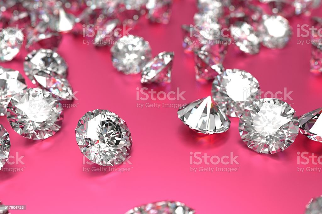 Luxury diamonds on pink background stock photo