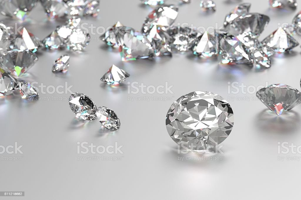 Luxury diamonds on white background stock photo