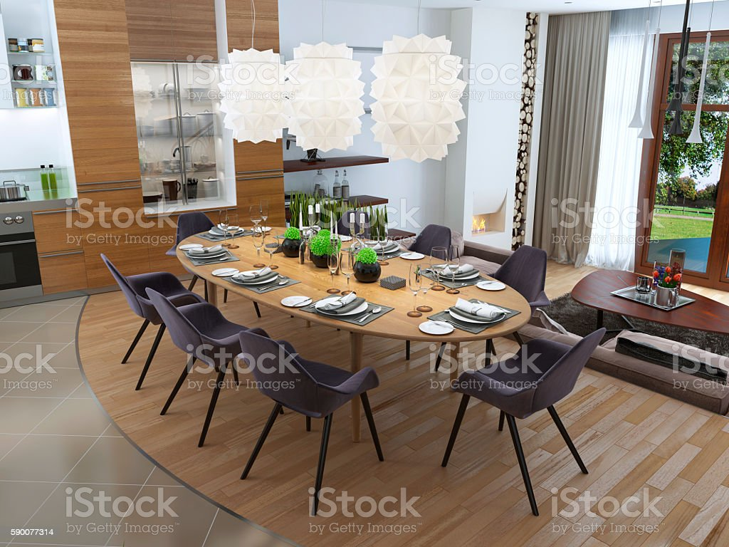 Luxury dining room in a contemporary style. stock photo