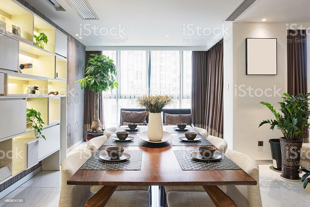 luxury dining room interior stock photo
