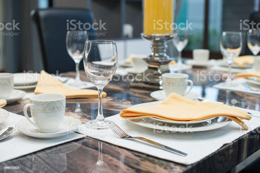 Luxury dining table stock photo