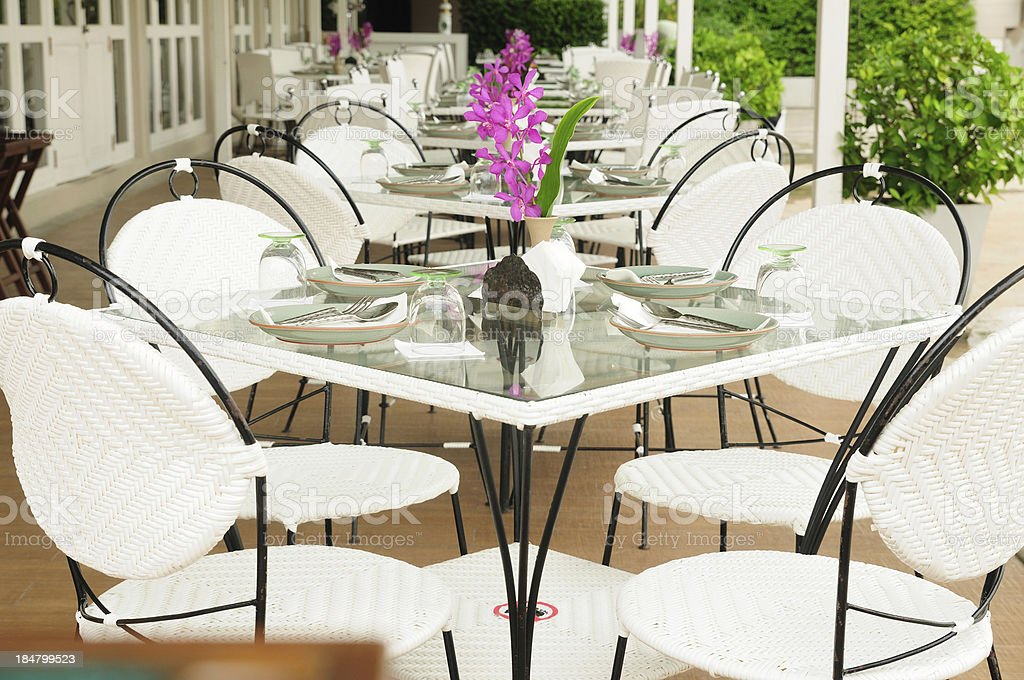 Luxury dinner tables sets outside restaurants, Thailand. royalty-free stock photo