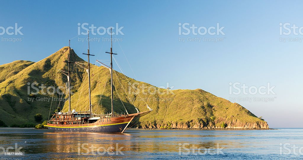 Luxury dive yacht anchored in Komodo National Park in Indonesia stock photo