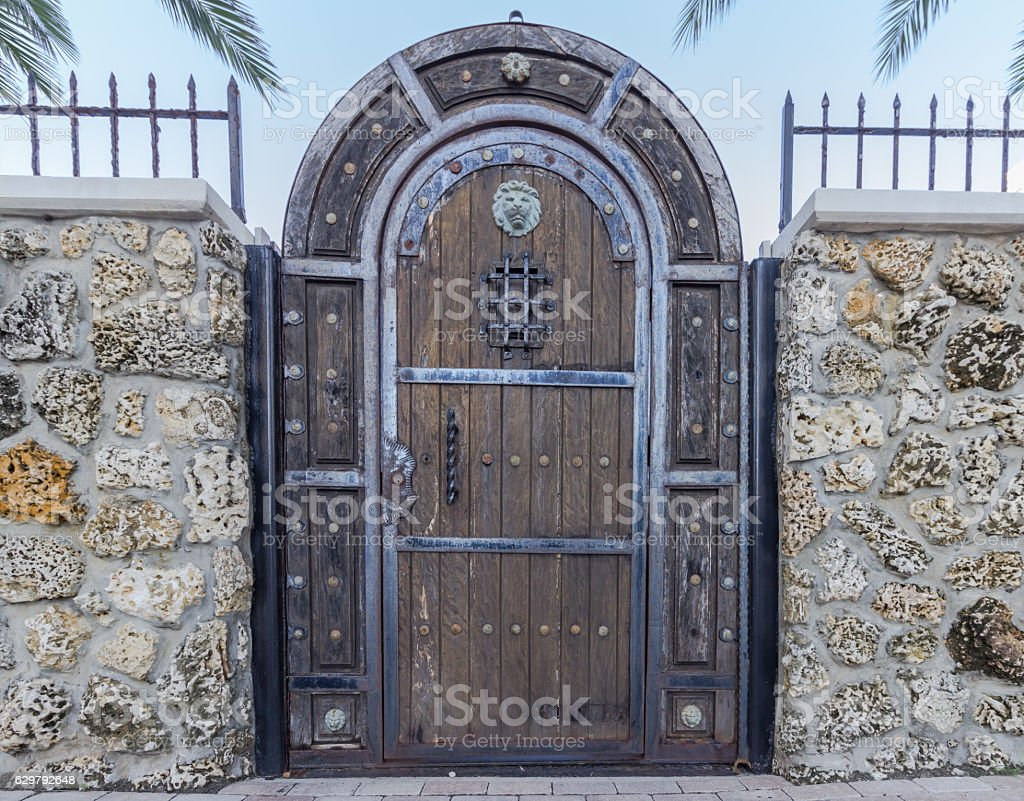 Luxury door made of wood and metal stock photo