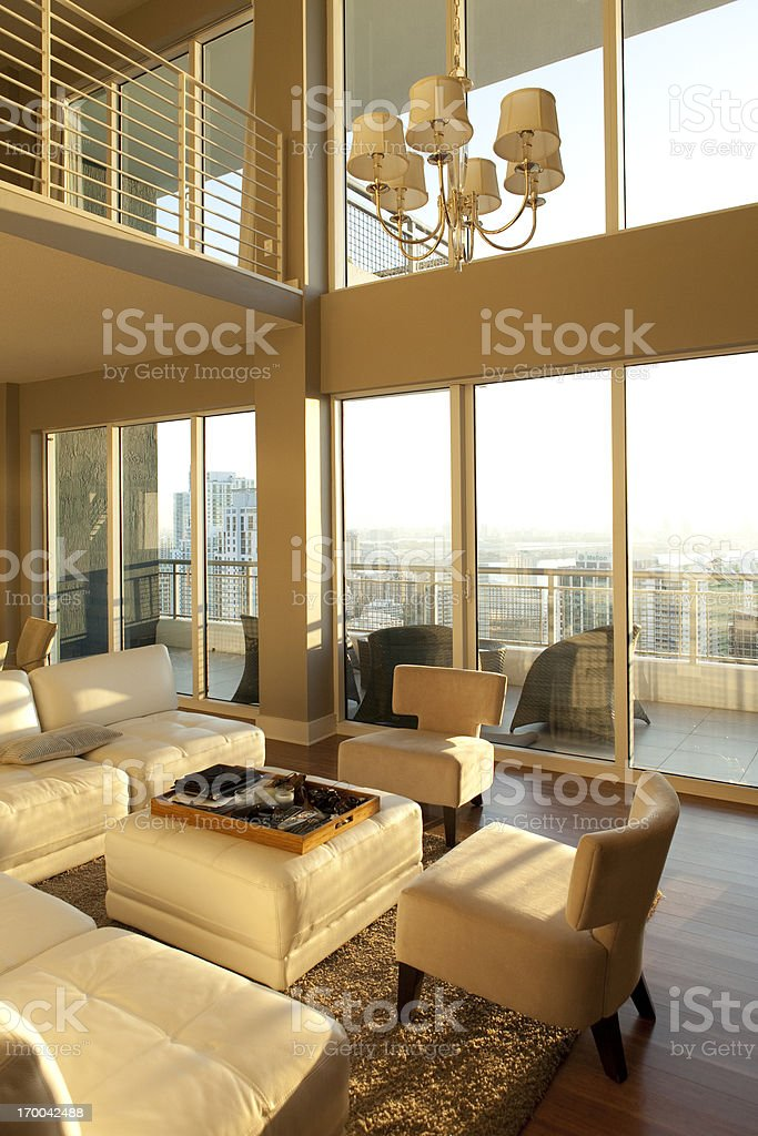 Luxury Duplex Living Room in Brickell Miami stock photo