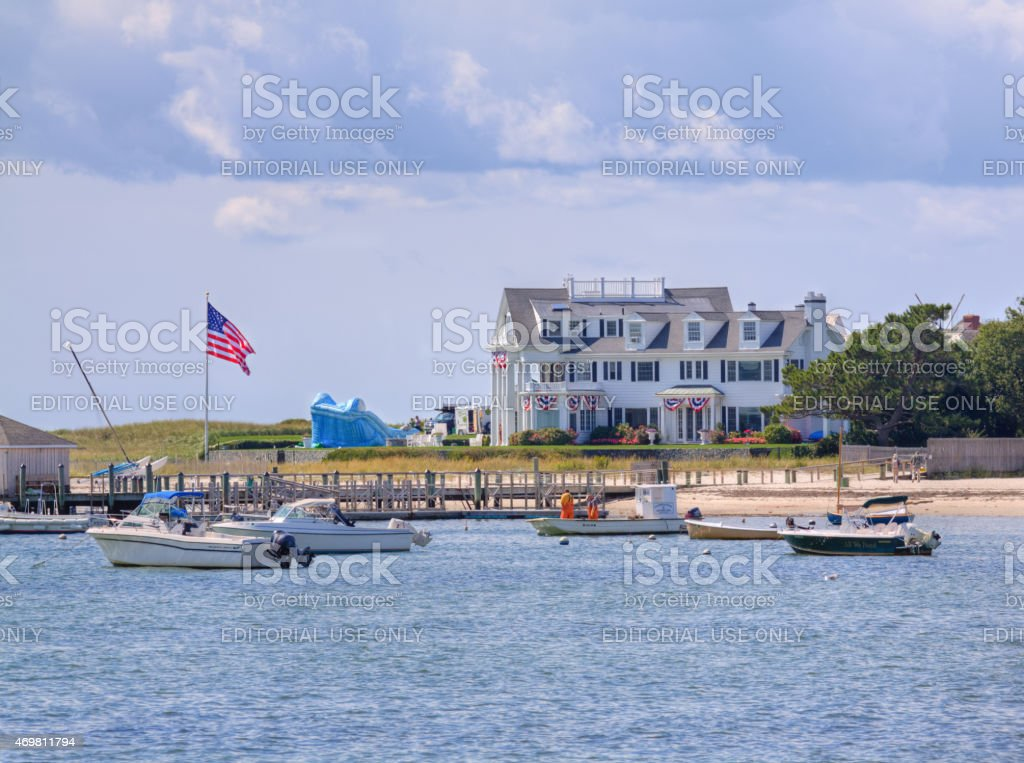Luxury Elegant Waterfront New England House, Hyannis, Cape Cod, Massachusetts. stock photo