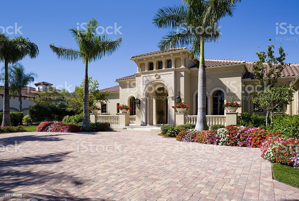 Luxury Estate Home in a Tropical Setting stock photo