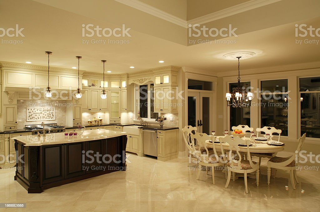 luxury estate house kitchen dining room stock photo