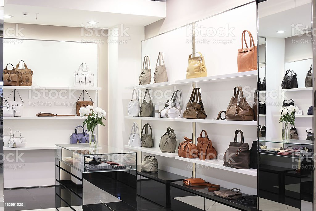 luxury european bag store stock photo