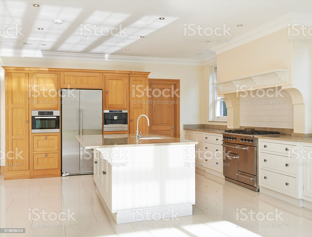 Luxury Fitted Kitchen In House stock photo
