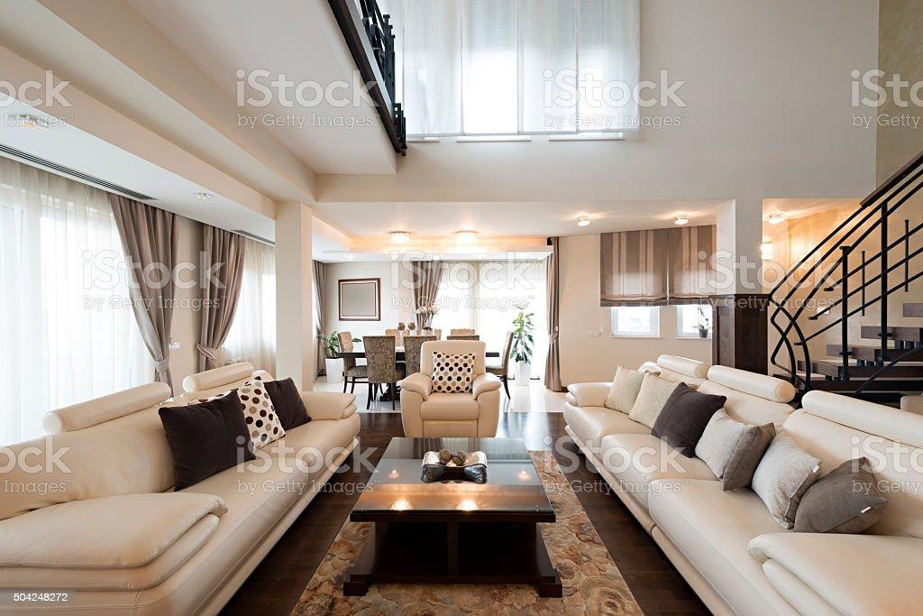 Luxury furnished living room interior stock photo