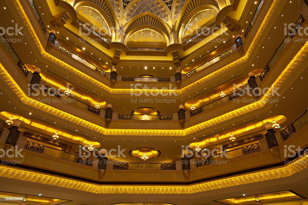 luxury golden balconys and ceiling stock photo