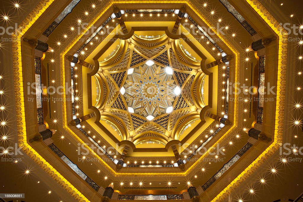luxury golden ceiling stock photo
