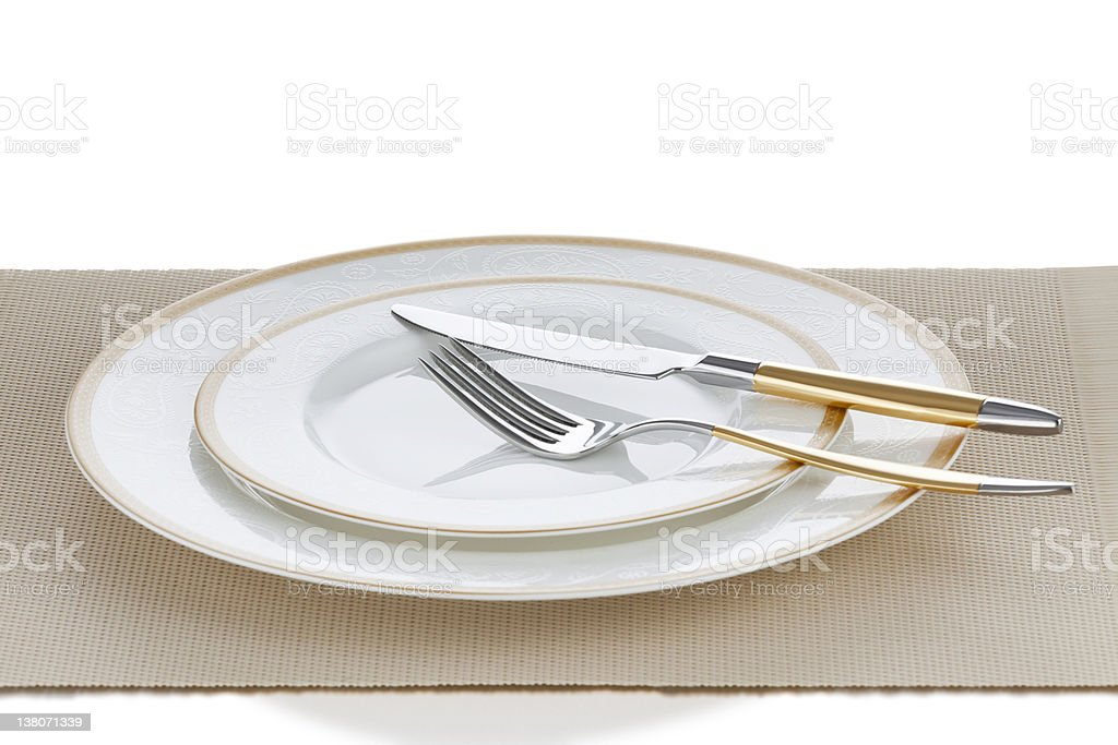Luxury Golden Plate Setting royalty-free stock photo