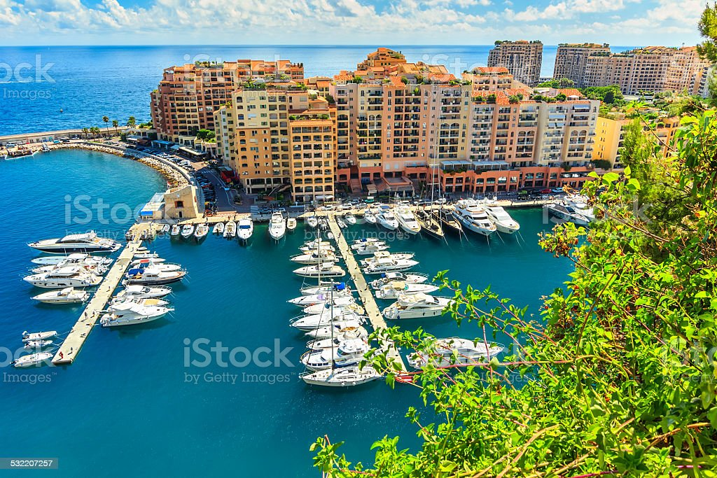 Luxury harbor and buildings in the lagoon,Monte Carlo,Monaco stock photo