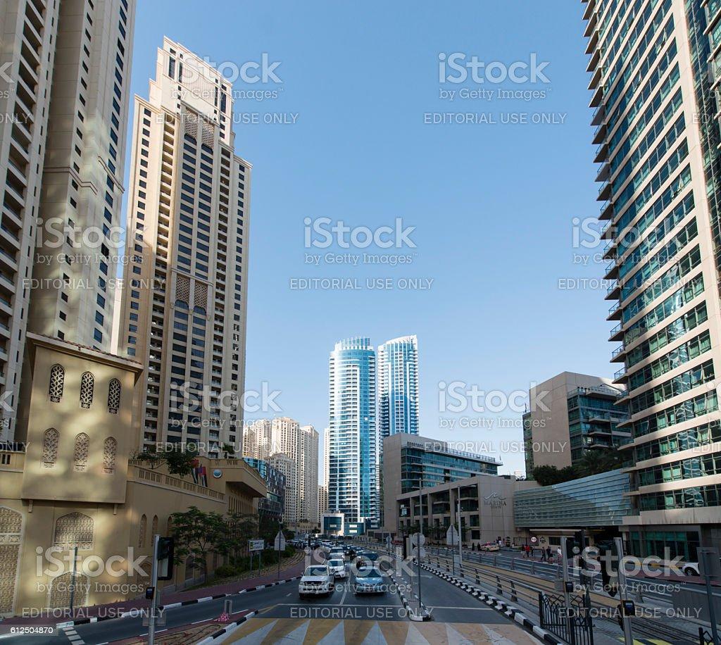 Luxury highrise apartments at Dubai Marina stock photo