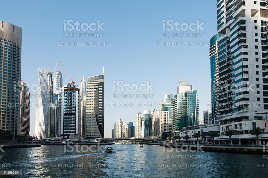 Luxury highrise apartments soaring into sky above Dubai Marina stock photo
