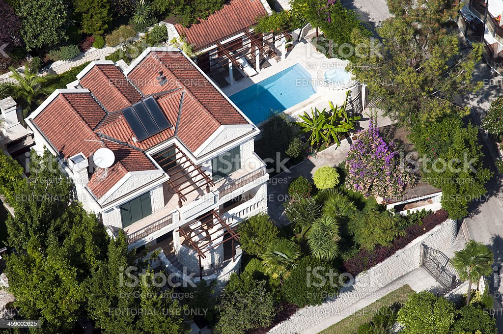 Luxury home, aerial view stock photo